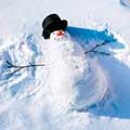 snowman with carrot nose and hat