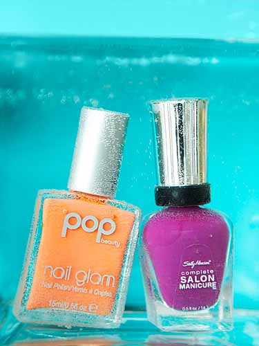 pop beauty nail glam tangerine taste sally hansen purple posy