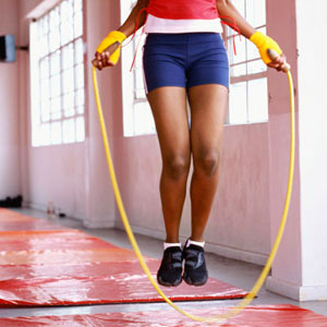 woman jumping rope
