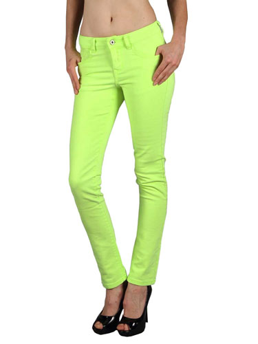 Boutique 9 Neon Green Skinny Jeans - Cheap Colored Jeans for Women