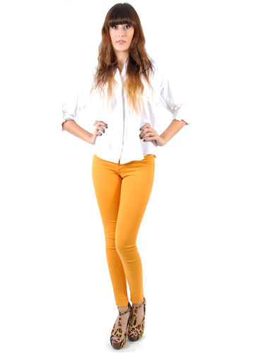Shop Hallelu Mustard Yellow Skinny Jeans - Cheap Colored Jeans for ...