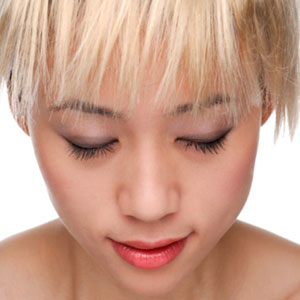 and asian woman with blond hair
